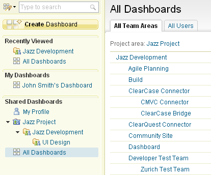 All Dashboards link on left sidebar with a selection of its content on the right in the main page area