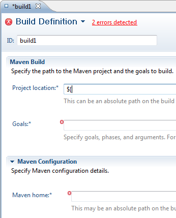 Build Definition editor showing validation markers for required fields only after Save.