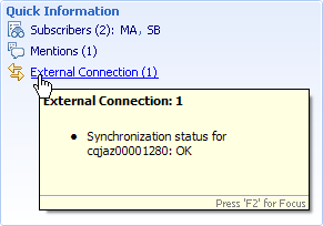 CQ Synchronization status entry in Work Item Quick Information area