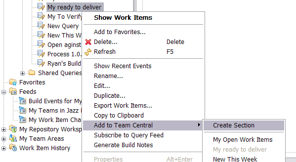 Context menu on work item query to add to Team Central