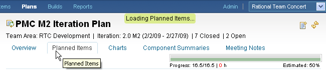 Loading Planned Items within an Iteration Plan