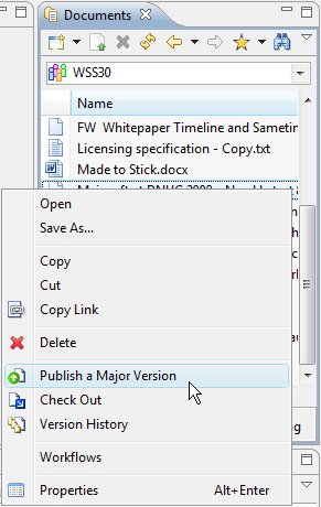 In the Document View the context menu gives you access to the common document site operations.