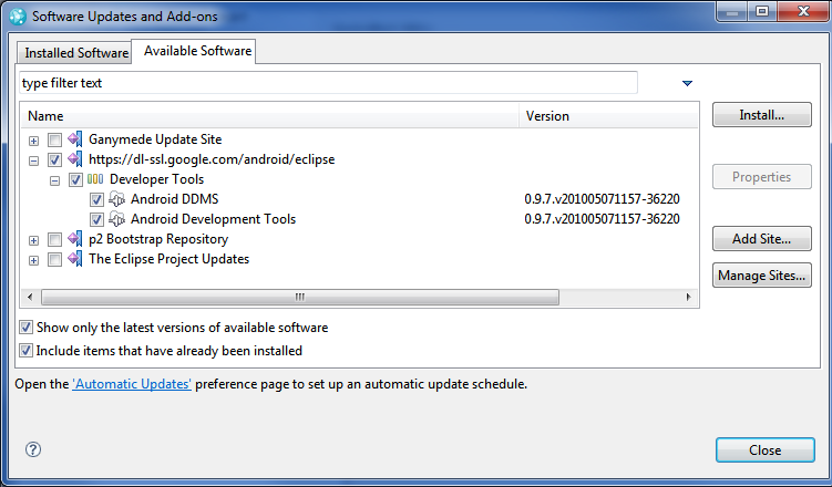 procedures to install eclipse and android Install ibm® rational® test workbench eclipse client and ensure that the extension for mobile is selected for details, see installing the product software download and install adb, which is part of android sdk tools, on the computer running the test workbench.