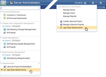 Access to the Jazz Team Server Administration Home page via the Home and Admin menus on the banner
