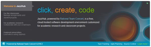 JazzHub - click create code