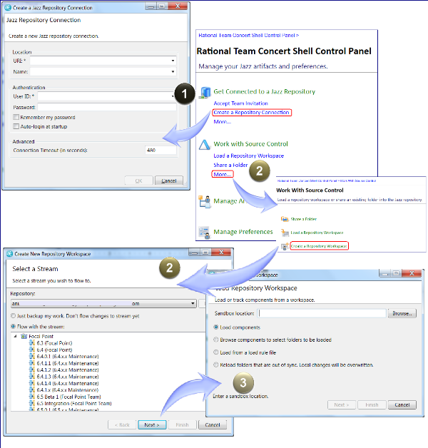 Creating workspaces in Rational Team Concert Shell