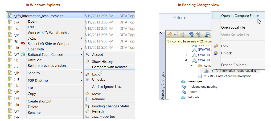 Windows Explorer vs. Pending changes
