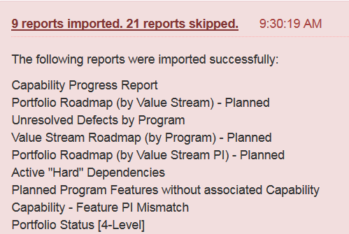 Example of report import errors