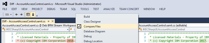 Visual Studio Compare Files toolbar