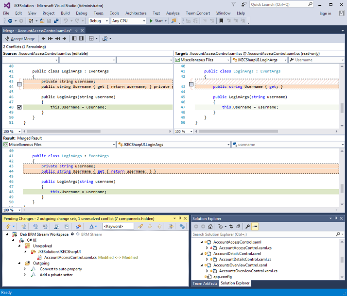 Visual Studio's built-in diff/merge editor