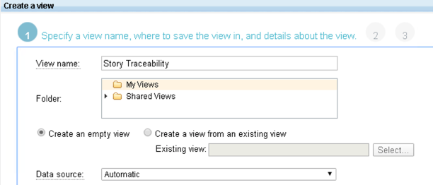 New View Dialog