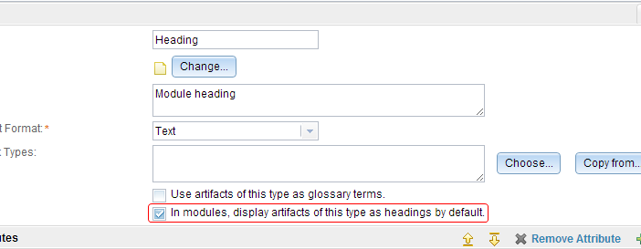 check box to display artifacts as headings