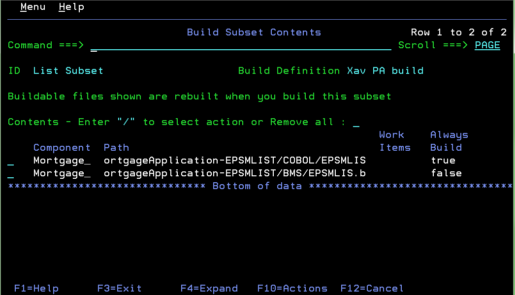 Build Subset Contents