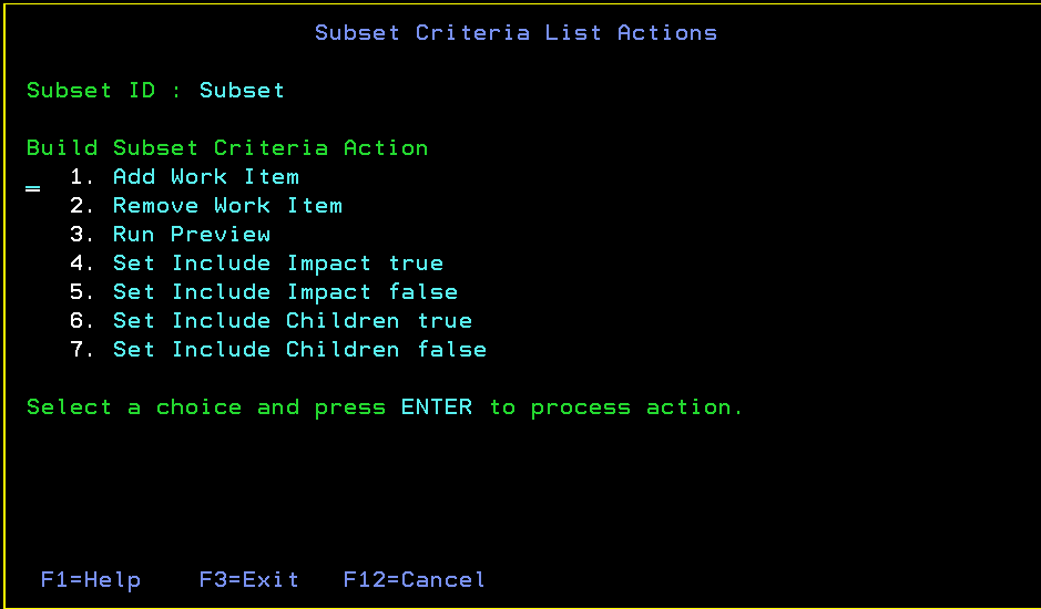 Build Subset Contents List Actions