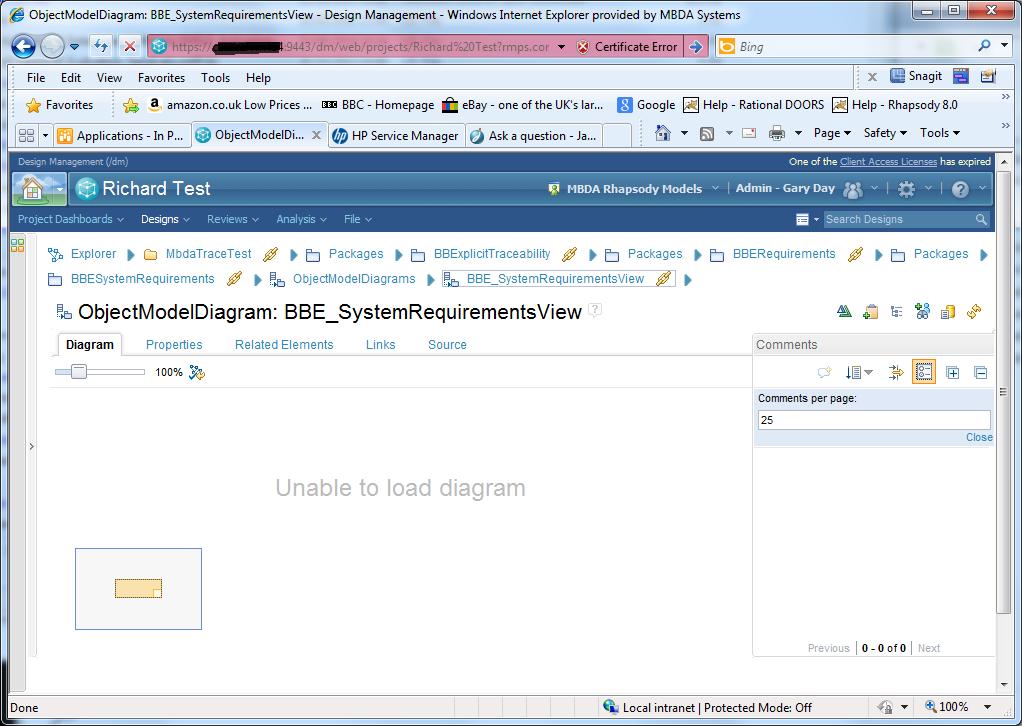 Unable to load Diagram