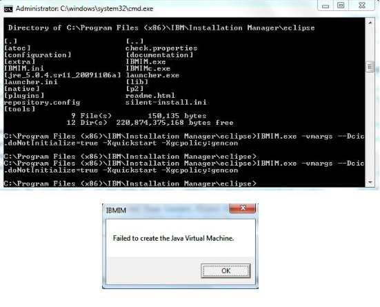 Failed to create Java Virtual Machine error when installing CLM 4.0