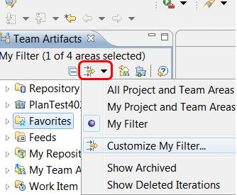 Team Artifacts filter