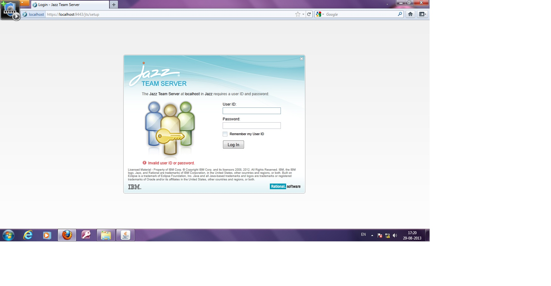 Unable to login for JTS setup after installation - Jazz Forum