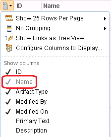 Greyed out name in drop down
