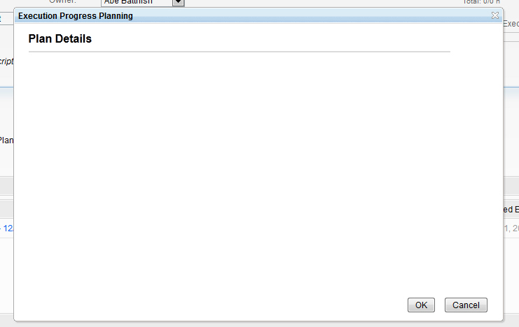 Empty Plan Details Dialog