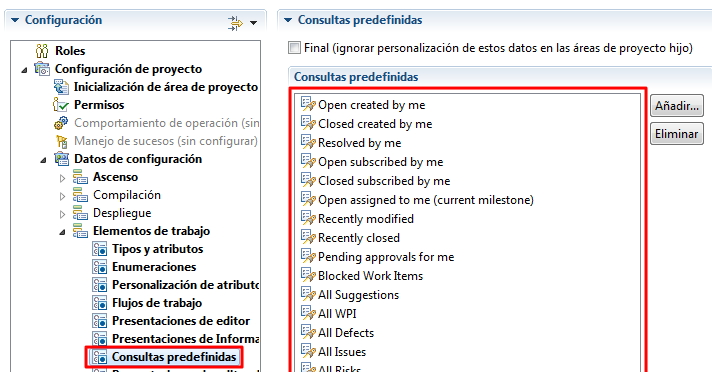 Predefined queries section Spanish RTC