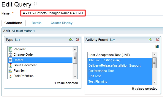 Predefined query permits changing the summary a lot