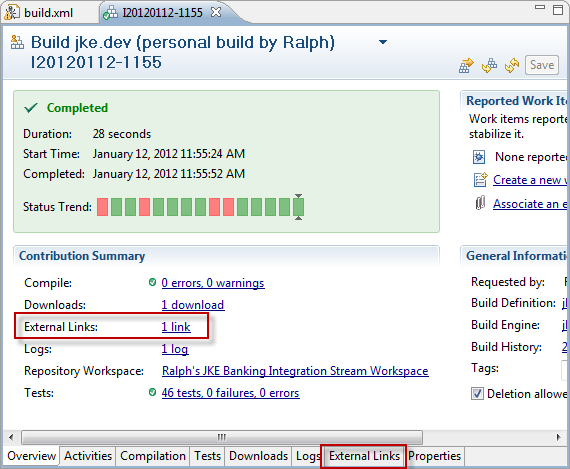 Is it possible to publish link to Build result such as