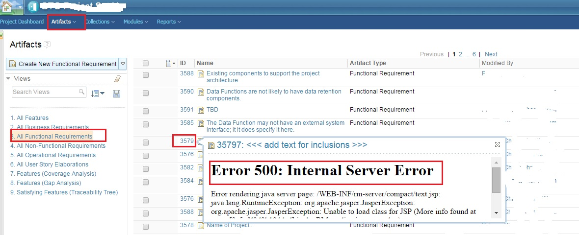 Getting Error 500 Internal Server Error In Rm Application When Hovering Over An Artifact After Clm 501 Upgrade Jazz Forum