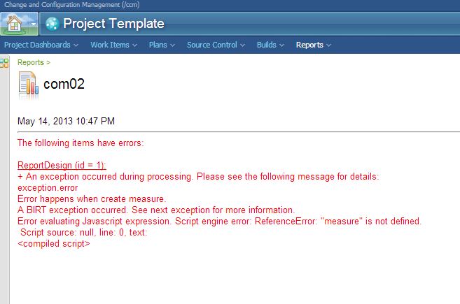 Error BIRT custom report when viewing in RTC - Jazz Forum