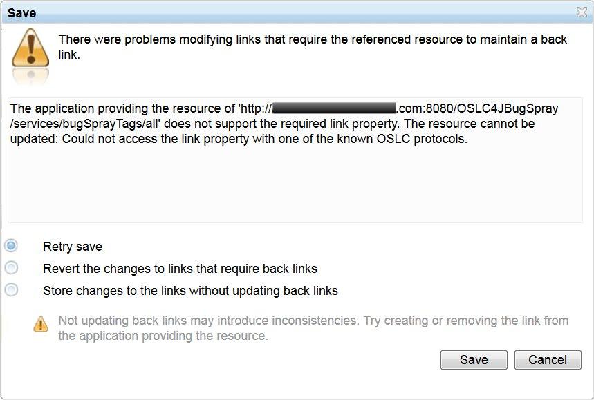 RTC CCM Save Back Link Error Message