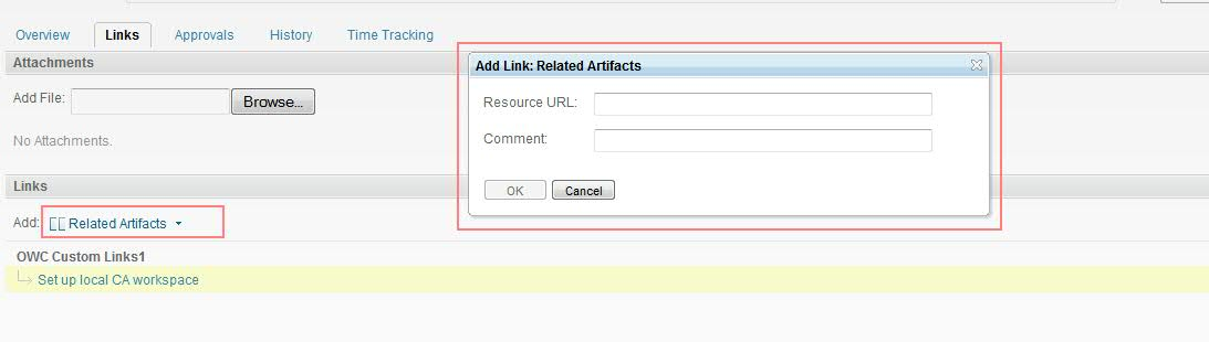 Related Artifacts Custom Link for RTC