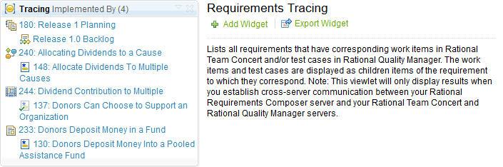 Requirements Tracing Widget