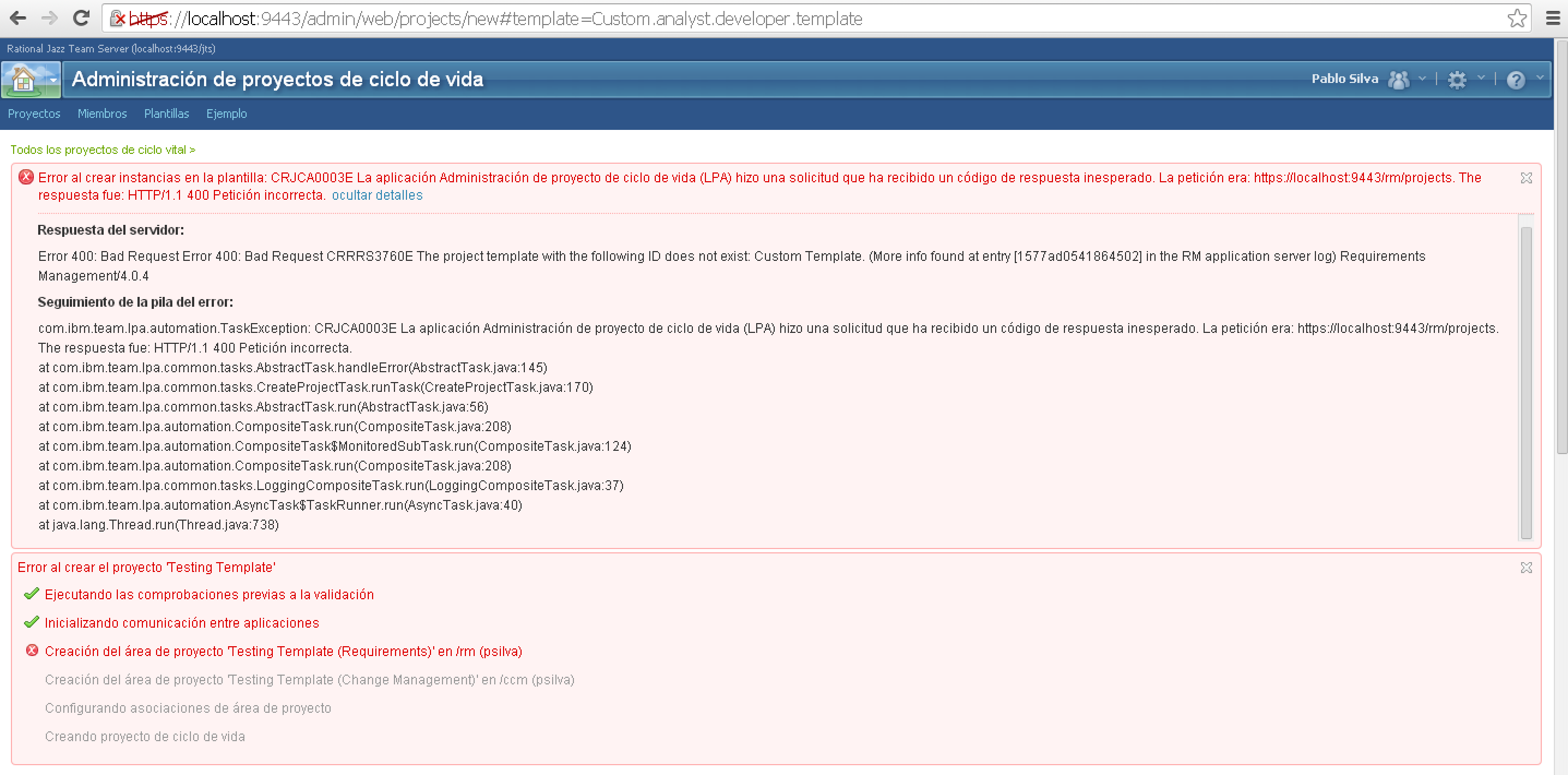 Lifecycle Project Creation Failed At Rrc Project Creation With
