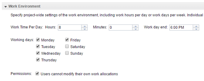 My work env - work day 8 hour
