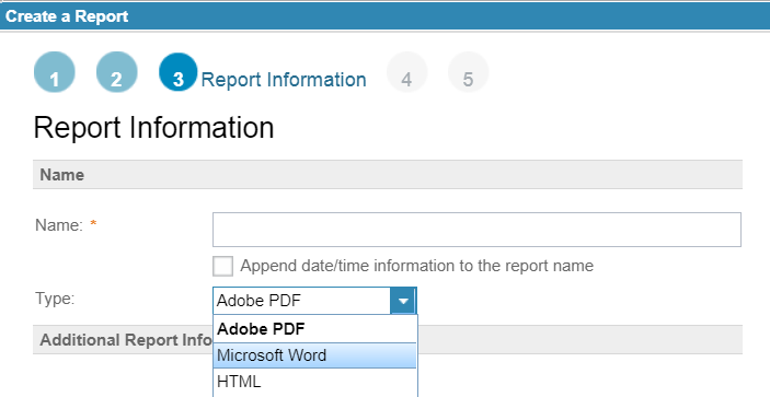 Report types in RDNG for RPE report