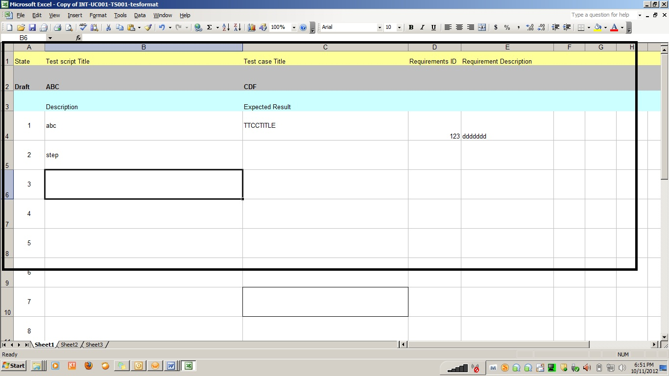 Testing Template Excel