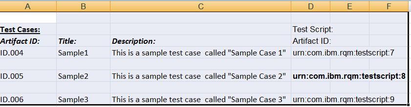 RQM Excel Importer Tool Linking To Existing Artifacts Test Scripts