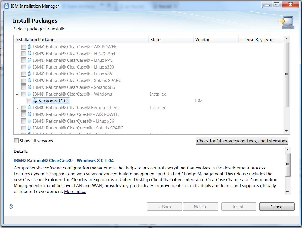 IM ClearCase screen