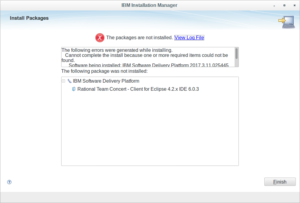 RTC Client 6 0 3 can't be installed in RSA 9 6 using IBM