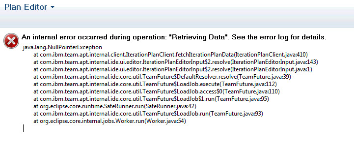 Eclipse client error opening backlog