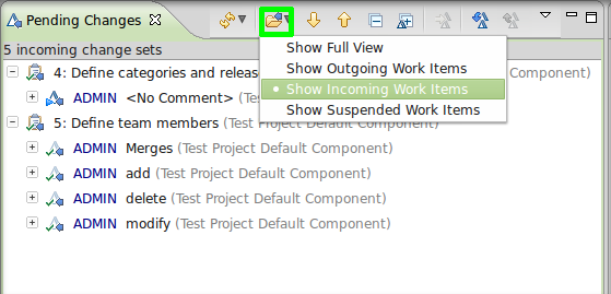 Pending Changes work items grouping