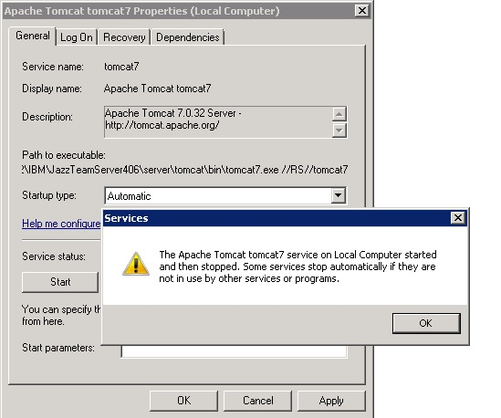 error when starting the apache tomcat 7 0 tomcat 7 service on local