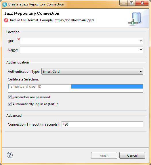 Smart card authentication does not work in Eclipse, working in web
