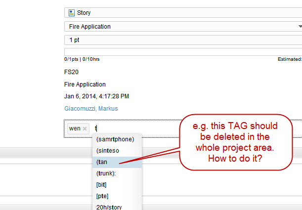 TAG to be deleted in the whole project area