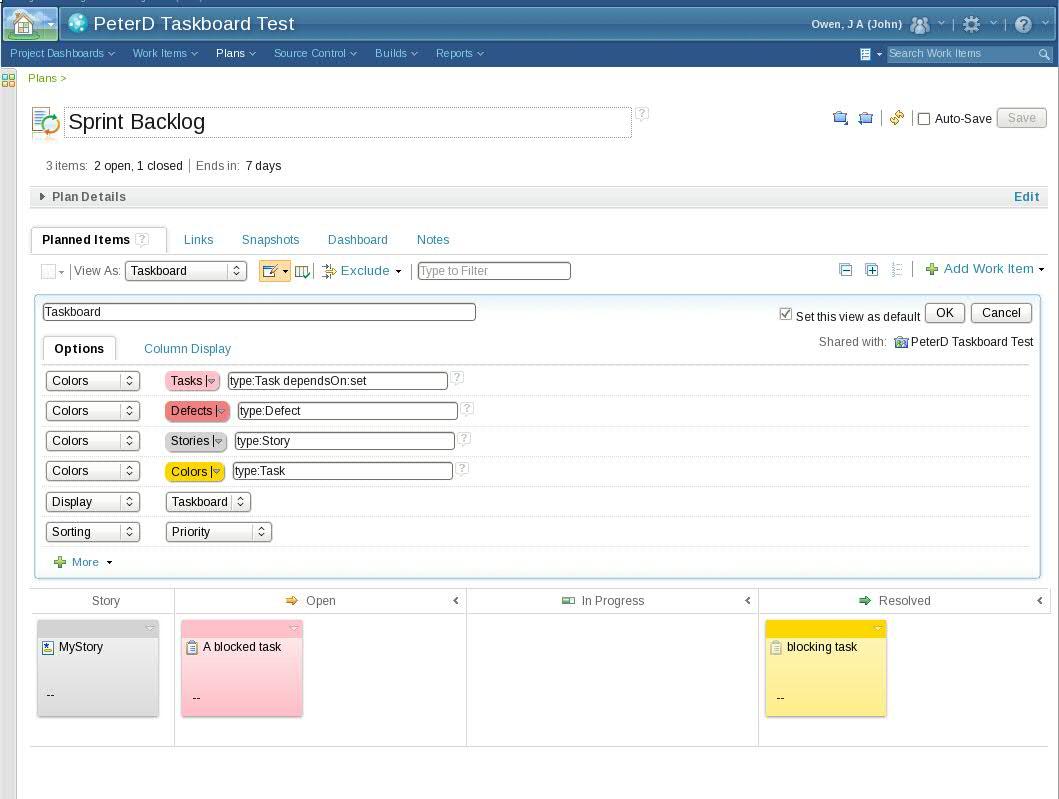 Taskboard editor screenshot