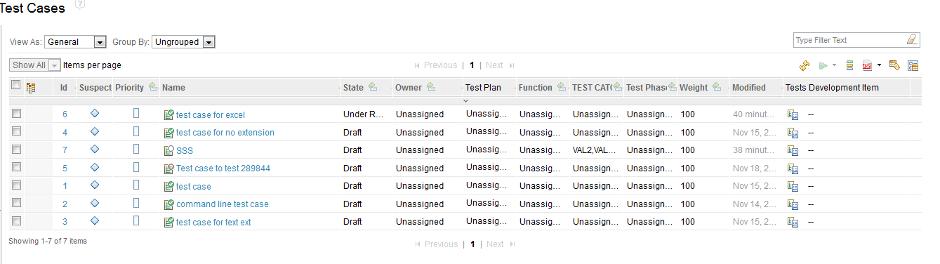 browse test cases view
