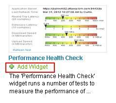 Performance Health Check widget