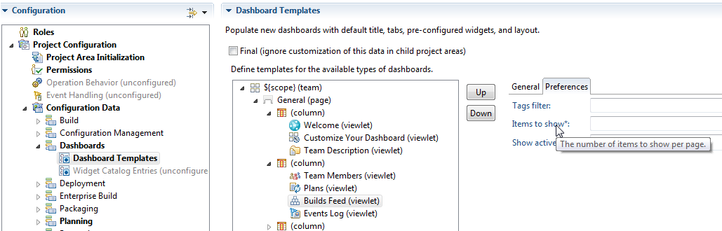 Configuring Dashboard Templates In The Process