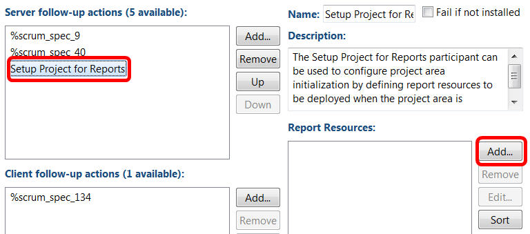 process template editor setting up a project for reports