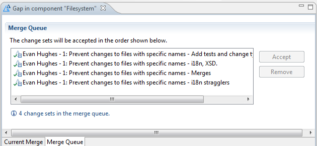 Example of merging gaps in change set history